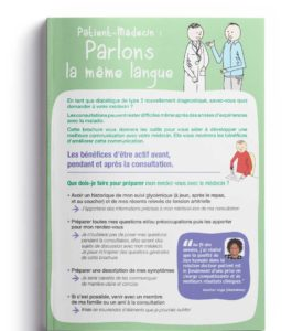 """Cover of the """"Patient-Doctor: Let's speak the same language"""" brochure in French"""